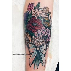bouquet tattoo for the tattoos and body art bows the o jays bouquets i Flower Cover Up Tattoos, Flower Tattoo Arm, Cover Tattoo, Arm Tattoo, Body Art Tattoos, Cool Tattoos, Flower Bouquet Tattoo, Tattoo Flowers, Tulip Tattoo