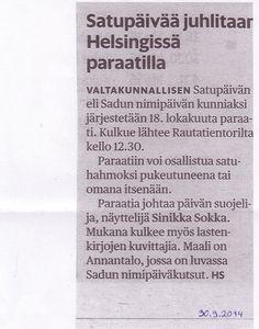 Mainos Satupäivästä Helsingin Sanomissa.