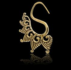 Tribal Brass Swan Earrings by Tribulondon on Etsy, $48.00