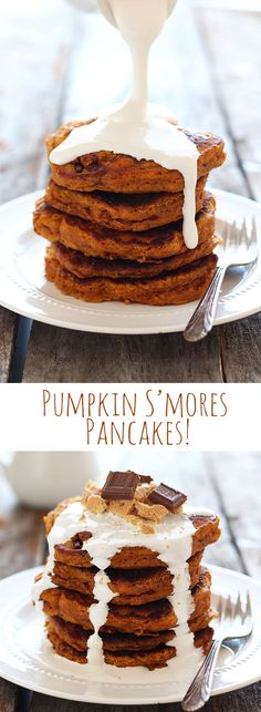 Look at that marshmallow SYRUP! Pumpkin S'mores Pancakes are over the top decadence. SO GOOD.