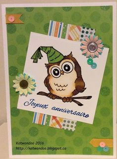 Art Impressions Rubber Stamps: Whoots: Birthday Whoot.  Handmade owl birthday card.