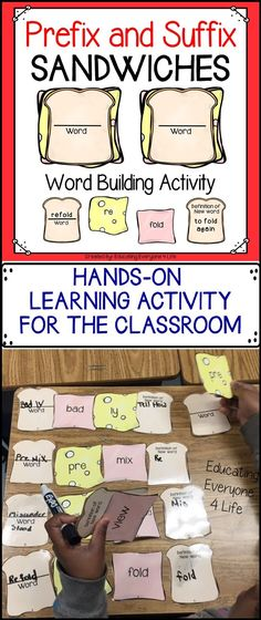 Literacy Center Ideas For the Classroom - Learning about prefixes and suffixes is fun with this hands-on classroom activity. Students will be engaged while creating their prefix and suffix sandwiches. Student Teaching, Teaching Reading, Teaching Resources, Learning, Teaching Ideas, Word Study, Word Work, Prefixes And Suffixes, Suffixes Worksheets