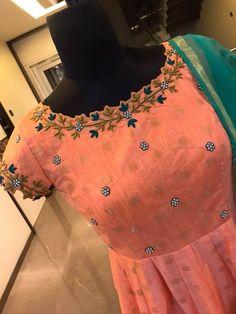 Beautiful blush pink color floor length anarkali dress with floret lata design hand embroidery thread work on neck line.  02 April 2018