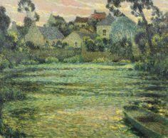 Henri Le Sidaner (French, 1862-1939), Village au bord de l'eau, Montreuil Bellay. Oil on canvas, 54 x 65 cm.