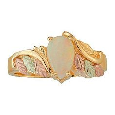 Black hills gold tritone opal leaf stud earrings Black Hills Gold
