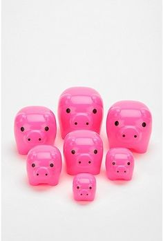 Nesting Pigs, Set of 7: Also available in lime. $20 #Pigs #Toys #Matryoshka