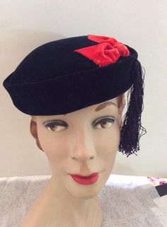 Vintage 1950s Hat Blue Velvet Red Bow Blue Tassel Smartwear Milwaukee by TimelessTreasuresVCB on Etsy