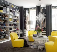 Ikea Stockholm swivel chairs. OMG! The chairs the shoe wall could I knock out wall between the closet & the office take some room out of the office & make a shoes room .....heaven <3