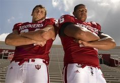 Senior football Picture Poses for Men | IU senior offensive linemen Pete Saxon, left, and Rodger Saffold pose ...