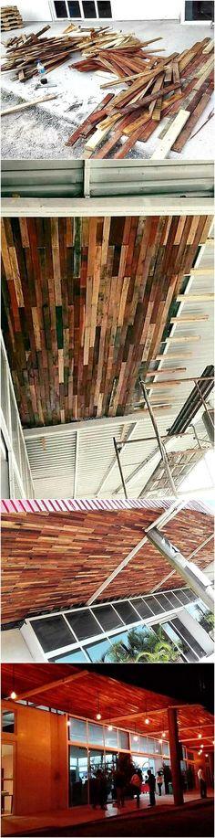 DIY wooden pallet roof ceiling