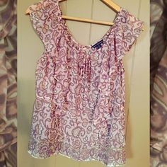 American Eagle top • size medium American Eagle soft pink, light purple and tan top! Worn once in great condition American Eagle Outfitters Tops