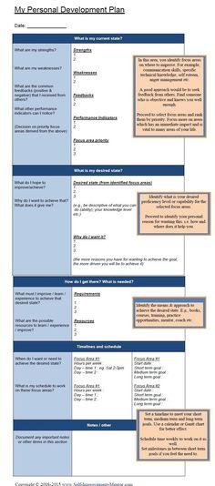Personal Development Template Idp Individual Plan Ideas Professional Goals