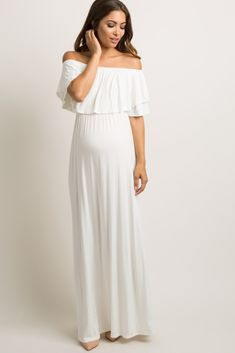27c39e3d2ce Ivory Off Shoulder Ruffle Trim Maxi Dress Maternity Maxi