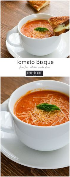 This Tomato Bisque Soup is creamy, delicious, gluten free and a lower calorie version of your childhood favorite soup recipe. - A Healthy Life For Me