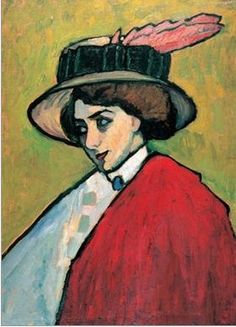 Gabriele Münter, Portrait of a young woman in a large hat,1909, Courtauld