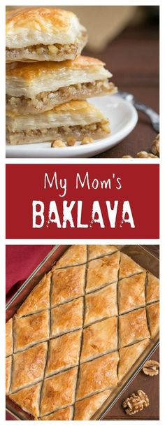 Gretchen's Baklava   My mom's baklava with layers of buttery filo & a walnut filling doused with orange blossom water kissed sugar syrup /lizzydo/
