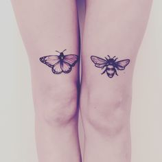 Butterfly tattoo, bee tattoo, knee tattoo