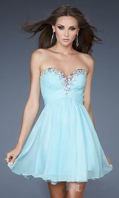 Short Sky Blue Beaded A-Line Strapless Prom Dress Cheap