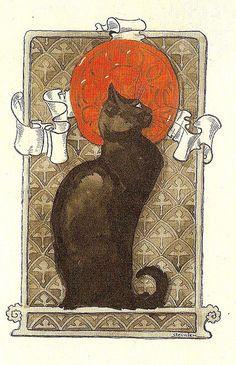 black cat - Théophile Steinlen (1859 – 1923), was a Swiss-born French Art Nouveau painter and printmaker.