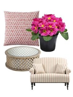 Pale pinks and soft patterns add a romantic touch to any room.