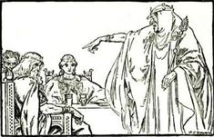 Illustrations from The Heroes of Asgard by C.E. Brock Without Iduna's apples, the Aesir are visited by Hela