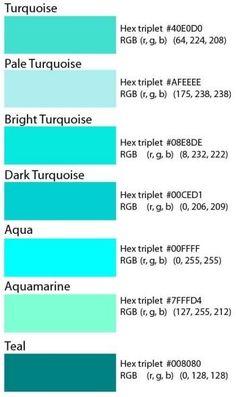 Code couleur hexadecimal pour le turquoise love them all