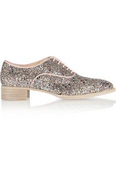 Christian Louboutin Zazou glitter-finished canvas brogues | NET-A-PORTER