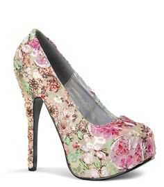 Bordello Teeze Floral Sequins Platforms