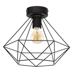 A faceted, matte black cage shade gives the Tarbes ceiling Light by Eglo its modern industrial vibe. This ceiling light would perfectly showcase an Edison style bulb. It requires one bulb (not included). Semi Flush Lighting, Lighting Sale, Interior Lighting, Ceiling Fixtures, Ceiling Lights, Black Ceiling, Leroy Merlin, Lighting Solutions, Accessories