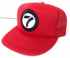890ac2bed8b vtg 80s 90s NUMBER SEVEN 7 TRUCKER HAT Red Black White Retro Snapback  Men Women  Sunbelt  BaseballCap