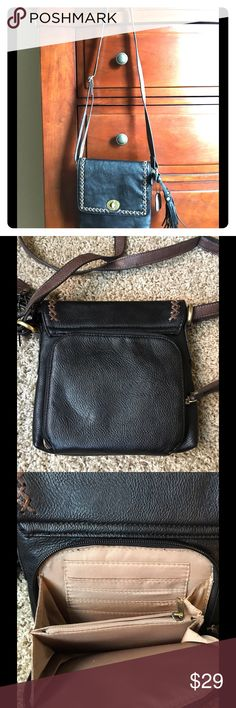 CLARKS Crossbody Bag CLARKS Genuine Leather Crossbody. Soft leather - black and brown. Pockets for license, credit cards, etc. Perfect for travel or shopping:) Excellent condition! Clarks Bags Crossbody Bags