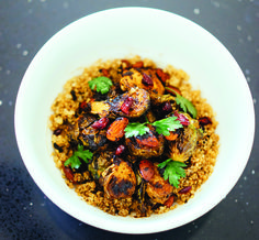 Roasted Mole Brussels Sprouts Quinoa Bowl - A home recipe from Bricia Lopez of Guelaguetza.