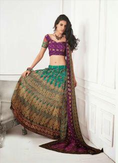 Indian Bridal Lehenga Sari Net Heavy Embroidery Lehenga Astonishing Saree 8009B