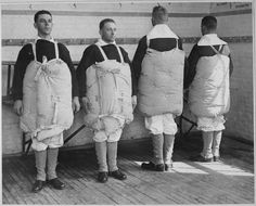 Recruits with their mattresses tied to them to serve as life preservers. Photo taken at Newport Naval Training Station, Rhode Island, (National Archives/History By Zim) Old Photos, Vintage Photos, Us Sailors, Rare Historical Photos, Life Preserver, Abandoned Ships, Us Coast Guard, National Archives, Ronald Reagan