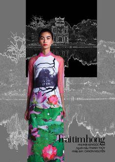 Ao dai Vietnam 2014 - Van Mieu. Hanoi -  Designer: Ngoc Han  - Photo: Canon Nguyen - Model: Thanh Thuy