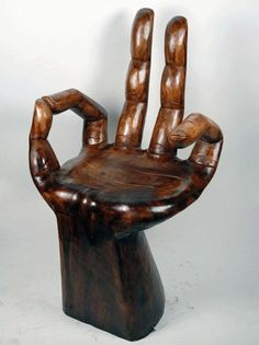 Beautiful Garden Statues Design for Home Decorative, Wood Statues by OM Gallery Hand Mudra Chair Wooden Garden Chairs, Wooden Chair Plans, Metal Chairs, Wood Chairs, Weird Furniture, Unique Furniture, Cheap Furniture, Furniture Stores, Furniture Dolly