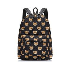 Moschino Teddy Bears Quilted skin Womens Leather Backpack Black