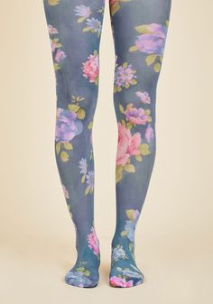 Pose in Petals Tights. In any possible position, these blue tights look perfectly picturesque! #purple #modcloth