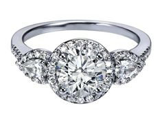 Halo Engagement Ring Pear Shape Side Stones