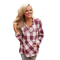 Creazy® Women Long Sleeve Tops Plaid Hooded Sweater Blouse Shirt Pullover - http://www.darrenblogs.com/2016/10/creazy-women-long-sleeve-tops-plaid-hooded-sweater-blouse-shirt-pullover/