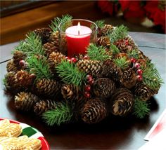 Christmas & Holiday Table ** PINE CONE WREATH CANDLEHOLDER CENTERPIECE ** NIB #FollowitFindit
