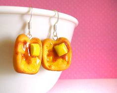Buttered French Toast Earrings Kawaii Fake Food by FrostedSoSweet