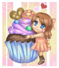 Miyu Loves Cupcake by xmeirinx on DeviantArt Cupcake Art, Cupcake Heaven, Love Cupcakes, Kitchen Prints, Girly Girls, Macarons, Anime Girls, Cardmaking, Princess Peach