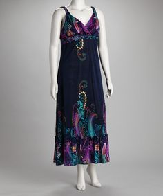 Navy & Purple Braided Plus-Size Maxi Dress by Life and Style Fashions on #zulily