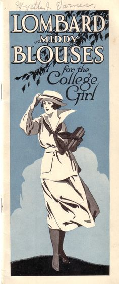 Lombard Middy Blouses for the College Girl, 1920 catalog | The Vintage Traveler. #vintage #1920s #fashion