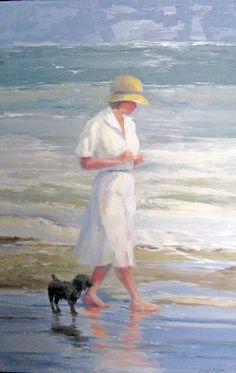 """Sunday Morning Walk"" 36x24 oil on canvas."