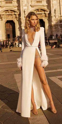 Women Deep V Studded Embellished Winter Dress White Long Sleeves Split Party Dress vestidos Gala Dresses, White Maxi Dresses, Maxi Dress With Sleeves, Elegant Dresses, Long Slit Dress, White Party Dresses, Dresses With Slits, White Sequin Dress, Sexy White Dress