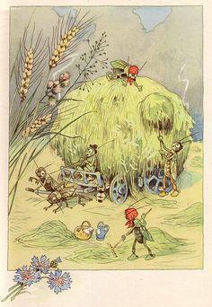 """Fritz Baumgarten (German, 1883-1966), illustrator. August. From """"Von den wunderlichen Leuten und den vier Jahreszeiten,"""" 1958."""