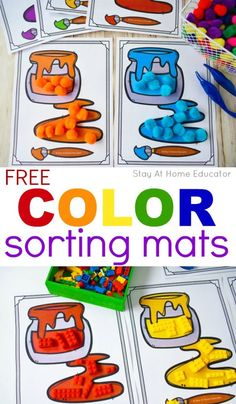 6 Ways to Teach Colors to Toddlers with Free Printable - Stay At Home Educator 6 Different Activity Ideas To Teach Colors To Toddlers. Kids will enjoy these games that will help them identify and speak different colors! Color Activities For Toddlers, Colors For Toddlers, Preschool Colors, Numbers Preschool, Toddler Learning Activities, Free Preschool, Preschool Classroom, In Kindergarten, Preschool Activities