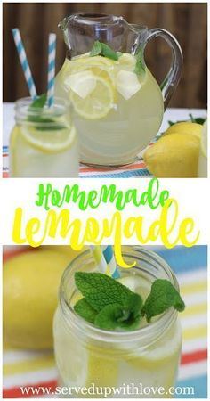 Homemade Lemonade recipe from Served Up With Love. The bright, fresh flavor of lemons shine in this homemade lemonade. The perfect drink to quench your thirst during a hot summer day. www.servedupwithlove.com